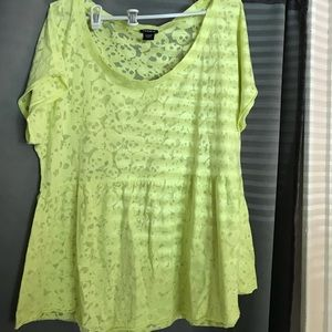 Size 1 Torrid yellow sheer peplum